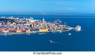 Aerial panorama of Lisbon old city center, view from Almada, Portugal