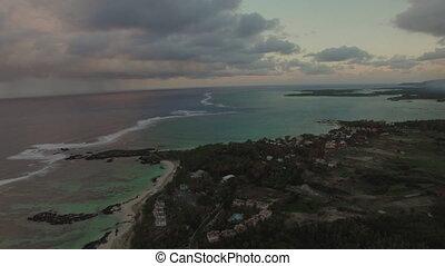 Aerial panorama of Mauritius Island and Indian Ocean -...