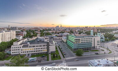 Aerial panorama of Moscow day to night timelapse from...