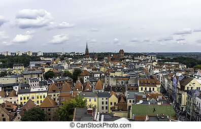 Aerial panorama of Old Town in Torun, Poland