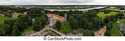 Aerial panorama of historical Panemune castle in Vytenai, Jurbarkas district, Lithuania close to Nemunas river