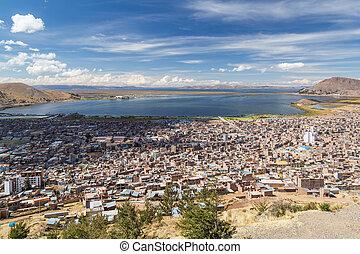 Aerial Panorama of Puno and Lake Titicaca from Mirador El...
