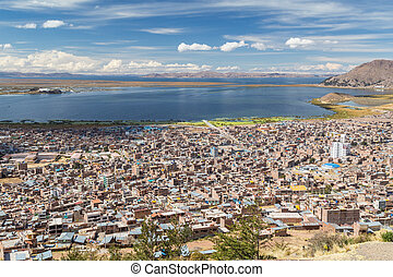 Aerial Panorama of Puno and Lake Titicaca from Mirador El...