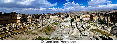 aerial panorama of Ruins of Jupiter temple and great court...