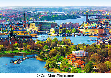 Aerial panorama of Stockholm, Sweden - Scenic summer aerial...