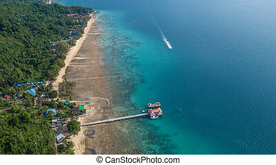 aerial panorama of the beach and boat