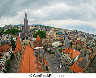 Aerial panorama of the historic center of Lausanne
