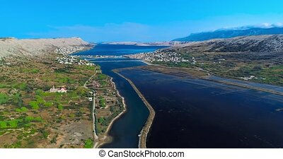 Aerial panorama of the historical saltern on island Pag in...