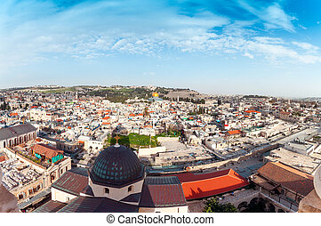 Aerial Panorama of the old city of Jerusalem, Israel