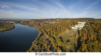 Aerial panorama of the Walhalla memorial and the Danube...