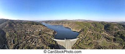 Aerial panorama of Topolnitsa Reservoir, Sredna Gora Mountain, Bulgaria