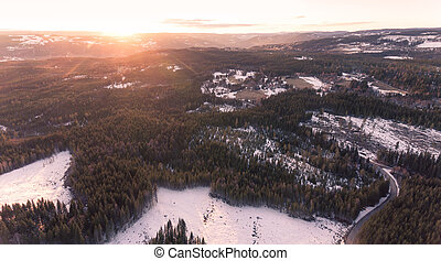 Aerial panorama sunset landscape