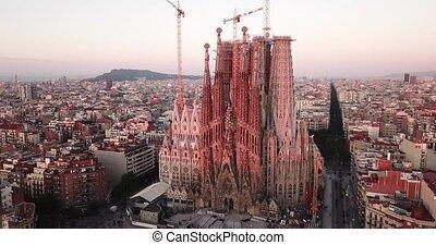 Morning view from dorne of the famous Spanish landmark - temple Sagrada familia