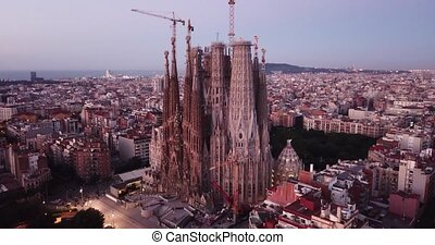 View from dorne of the famous Spanish landmark - temple Sagrada familia