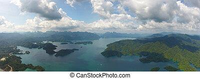 Aerial panorama view of Cheow Lan Lake