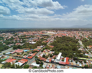 Aerial panorama view of Leon city