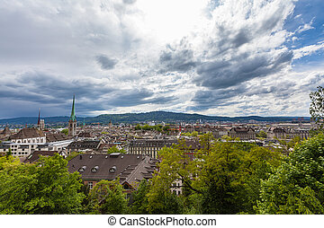 Aerial panorama view of Zurich old town and cityscape from ...