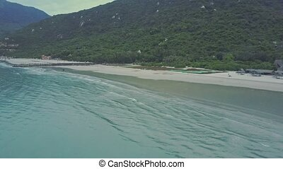 Aerial Panorama Wave Surf at High Tide on Vast Beach -...