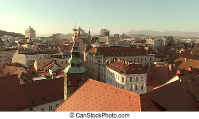 Aerial panoramic done view of city hall of Ljubljana, ...