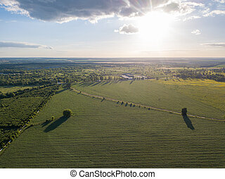Aerial panoramic drone view of the countryside area on a sunny day.