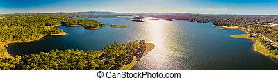 Aerial panoramic image of Sansonvale lake, Brisbane, Australia