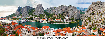 aerial panoramic landscape of the town Omis