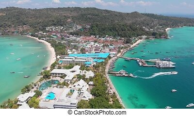 Aerial Panoramic of a Island Phi Phi in Thailand