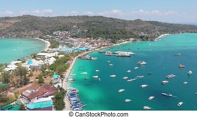 Island Phi Phi in Thailand - Aerial Panoramic of a Island...