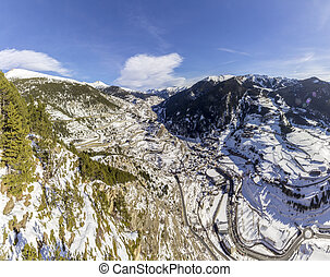 Aerial panoramic over in Canillo village.