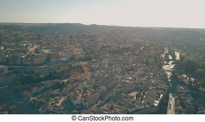 Aerial panoramic shot of Toledo, Spain - Aerial view of town...