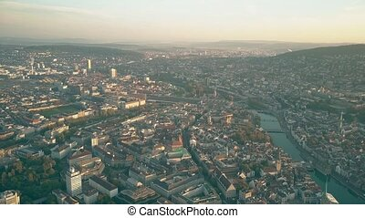 Aerial panoramic shot of Zurich centre and the Limmat river