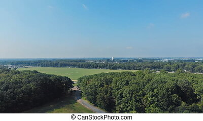 Aerial panoramic video from the drone, a view to the forest with green