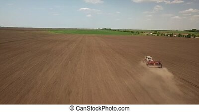 Aerial panoramic video from the drone of agricultural...