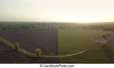 Aerial panoramic video in 4K from the drone, a bird's eye view of abstract geometric forms of abandoned runway, forests and agricultural fields in the summer evening at sunset.