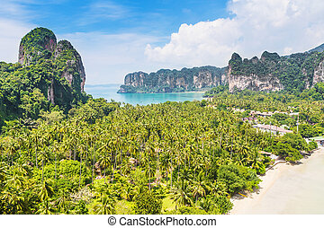 Aerial panoramic view from cliff on railay beach, Ao Nang, Thailand.