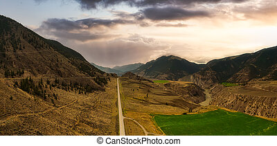 Aerial Panoramic View of a Scenic Highway in the Valley
