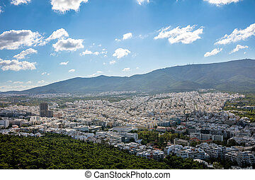 Aerial panoramic view of Athens city Greece, from Lycabettus hill