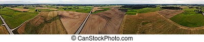 Aerial panoramic view of autumn lithuanian farm landscape