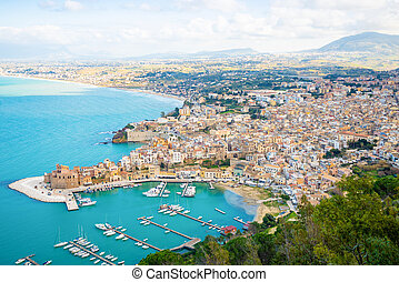 Aerial panoramic view of Castellammare del Golfo town, Trapani, Sicily, Italy