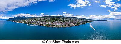 Aerial  panoramic view of Evian (Evian-Les-Bains) city in Haute-Savoie in France