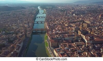 Aerial panoramic view of Florence at sunset, Italy
