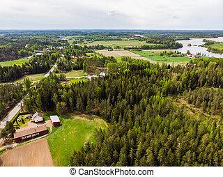 Aerial panoramic view of Huruksela near the river Kymijoki, Finland.