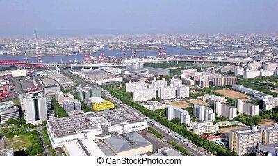 Aerial panoramic view of Osaka city, Japan