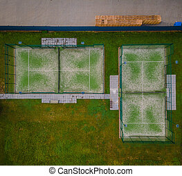Aerial panoramic view of paddle tennis courts