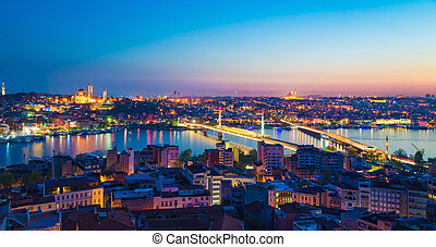 Aerial panoramic view of sunset Istanbul, Turkey