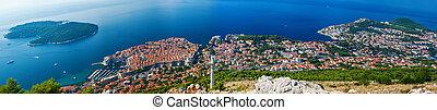 aerial panoramic view of the beautiful Dubrovnik