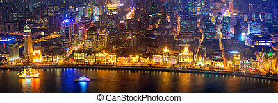 Aerial panoramic view of The Bund - The Bund panorama aerial...