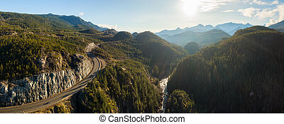 Aerial Panoramic View of the Famous Scenic Drive, Sea to Sky Highway