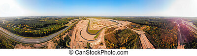 Aerial panoramic view of the race track in Finland