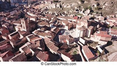 panoramic view of tiled housetops and Cathedral in medieval ...